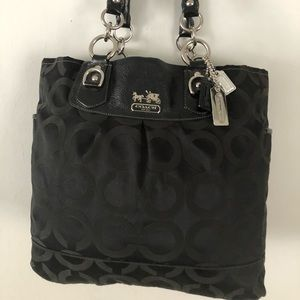 COACH Black Jacquard Patent Leather Totes Bag